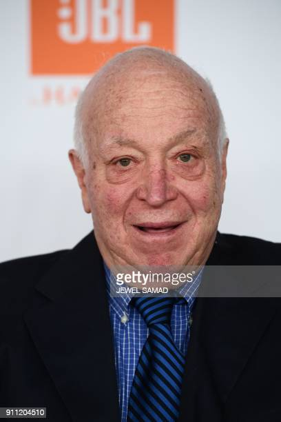 Music entrepreneur Seymour Stein arrives for the traditionnal Clive Davis party on the eve of the 60th Annual Grammy Awards on January 28 in New York...