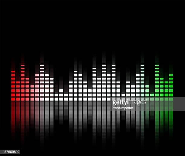 Equalizzatore musica offuscata in sfondo nero, Italia bandiera