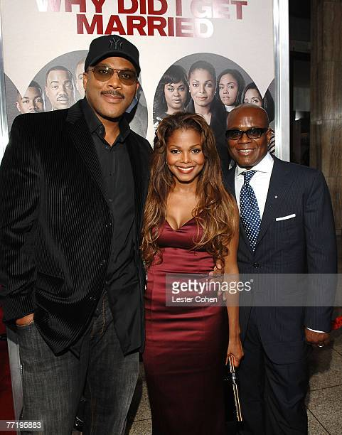 Music Executive Antonio LA Reid actress/singer Janet Jackson and writer/director Tyler Perry arrive to the premiere of Why Did I Get Married at the...