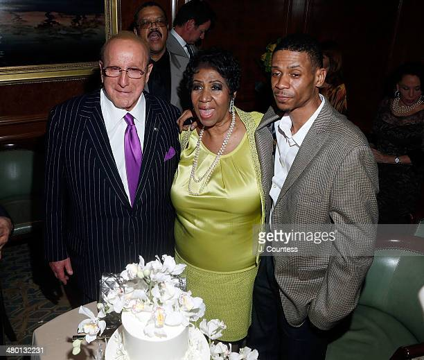 Music executive Clive Davis singer Aretha Franklin and Kecalf Cunningham attend Aretha Franklin's 72nd Birthday Celebration at the Ritz Carlton on...