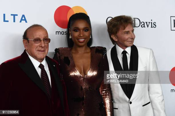 Music executive Clive Davis US singer and actress Jennifer Hudson and singer Barry Manilow arrive for the traditionnal Clive Davis party on the eve...