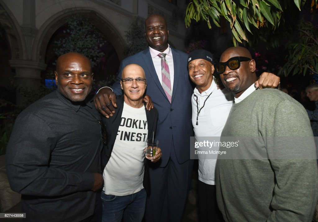 Music executive L.A. Reid, Apple executive Jimmy Lovine, former NBA player Shaquille O'Neal, entrepreneur Russell Simmons and record producer Andre Harrell at Apple Music Launch Party Carpool Karaoke: The Series with James Corden on August 7, 2017 in West Hollywood, California.