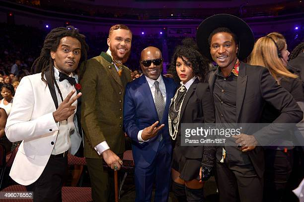 Music executive L.A. Reid poses with recording artists Nate 'Rocket' Wonder, Jidenna, Janelle Monae and Roman GianArthur during the 2015 Soul Train...