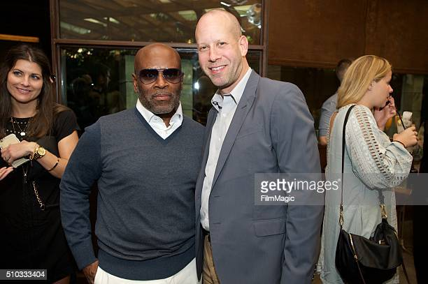 Music Executive LA Reid and David Dorn of Apple Music pose for a photo at the LA Reid 'Sing To Me' PreGrammy Brunch at Hinoki The Bird on February 13...