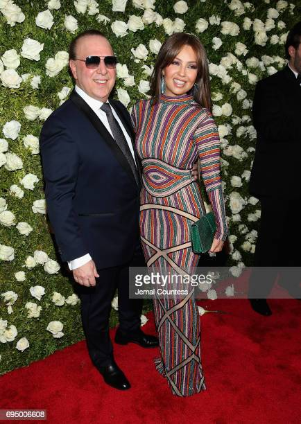 Music executive Tommy Mottola and singer Thalia attend the 2017 Tony Awards at Radio City Music Hall on June 11 2017 in New York City