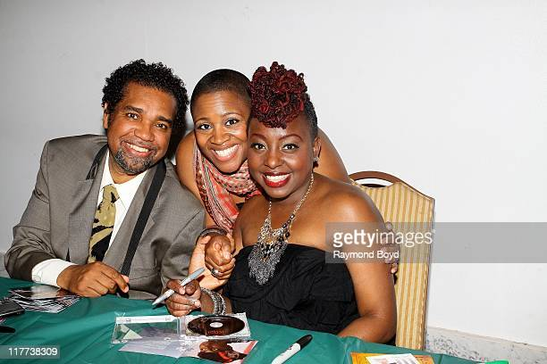 Music Experience owner and host Dedry Jones singers Avery Sunshine and Ledisi poses for a photo during 'The Experience With Ledisi' at the Harold...