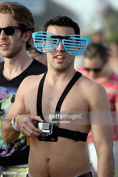 Music fan attends day 2 of the 2014 Coachella Valley Music Arts Festival at the Empire Polo Club on April 12 2014 in Indio California