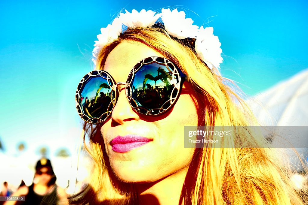 A music fan attends day 2 of the 2015 Coachella Valley Music And Arts Festival (Weekend 2) at The Empire Polo Club on April 18, 2015 in Indio, California.