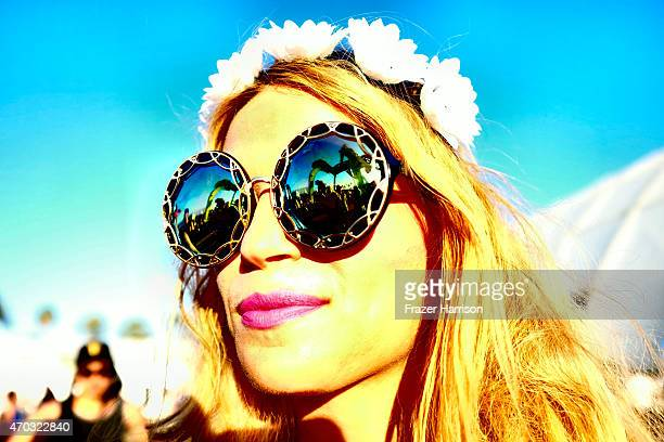 A music fan attends day 2 of the 2015 Coachella Valley Music And Arts Festival at The Empire Polo Club on April 18 2015 in Indio California