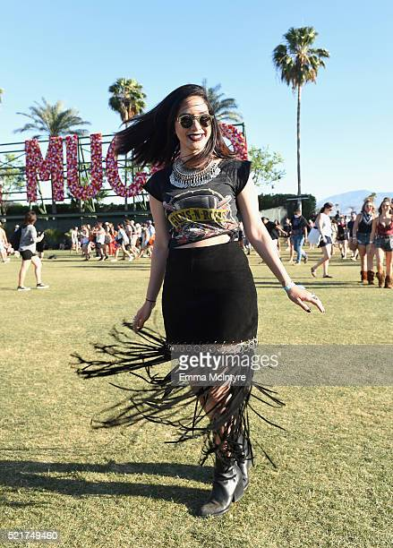 Music fan attends day 2 of the 2016 Coachella Valley Music Arts Festival Weekend 1 at the Empire Polo Club on April 16 2016 in Indio California