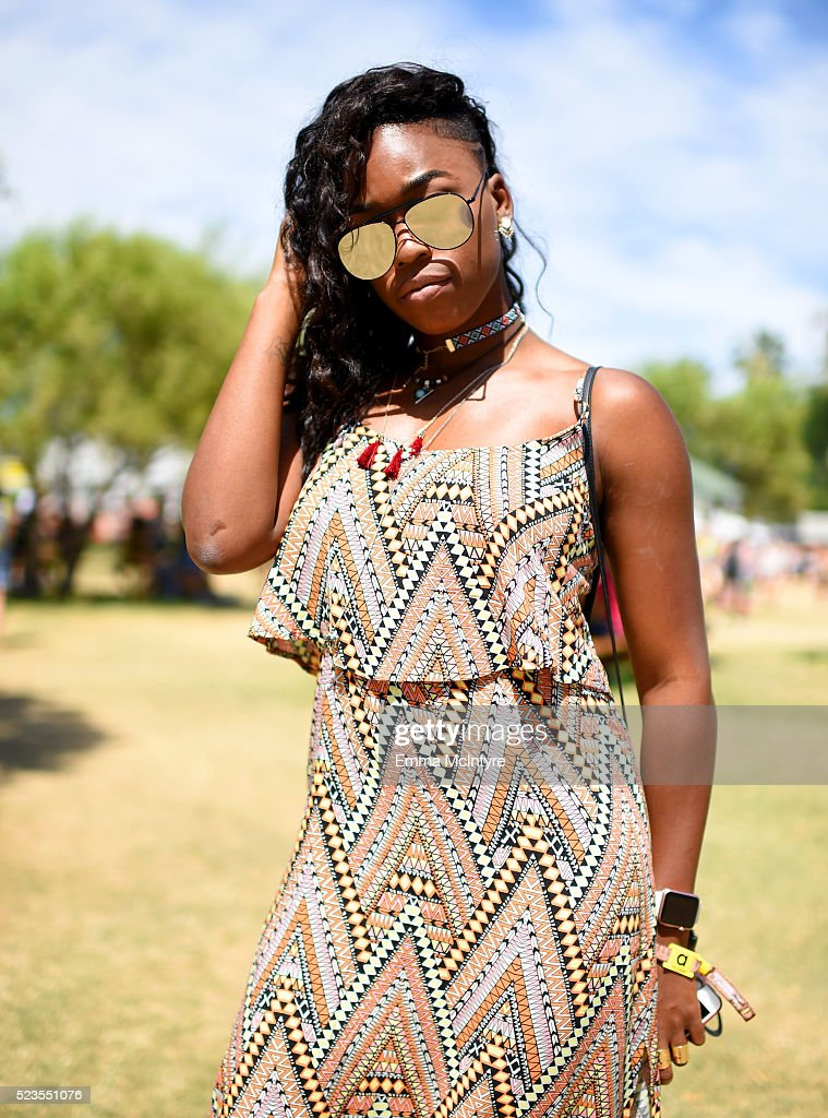 A music fan attends day 2 of the 2016 Coachella Valley Music & Arts Festival Weekend 2 at the Empire Polo Club on April 23, 2016 in Indio, California.