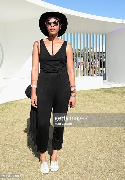 Music fan attends day 3 of the 2016 Coachella Valley Music And Arts Festival Weekend 1 at the Empire Polo Club on April 17 2016 in Indio California