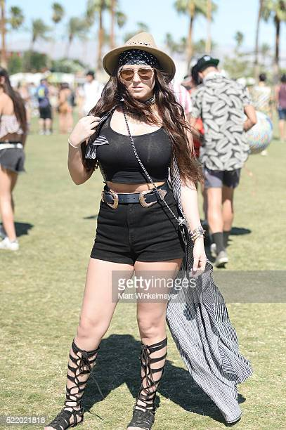 Music fan attends day 3 of the 2016 Coachella Valley Music Arts Festival at the Empire Polo Club on April 17 2016 in Indio California