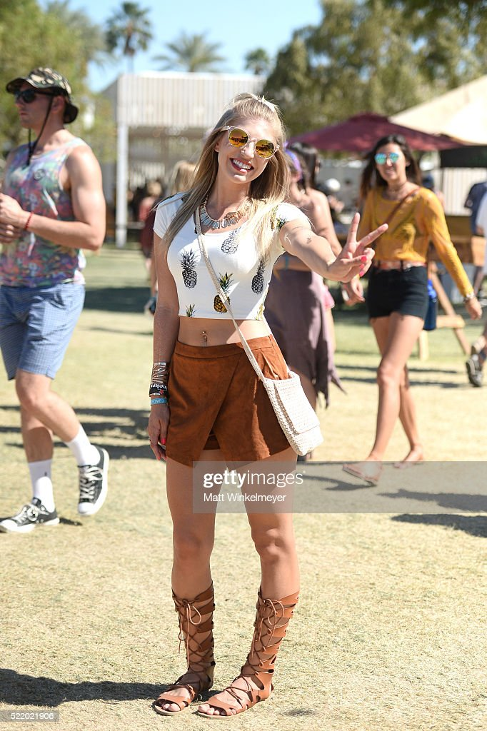 Music fan attends day 3 of the 2016 Coachella Valley Music & Arts Festival at the Empire Polo Club on April 17, 2016 in Indio, California.