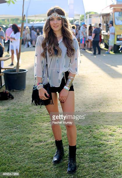 Music fan Chloe Rodgers in a ZARA top LF accesories and boots by Pride attends the 2015 Coachella Valley Music and Arts Festival Weekend 1 at The...