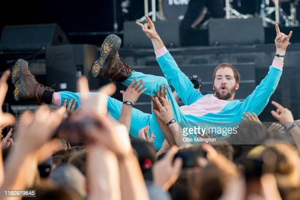 A music fan seen crowd surfing on Day 5 of the 52nd Festival D'été Quebec on the Bell Stage at the Plains of Abraham in The Battlefields Park on July...