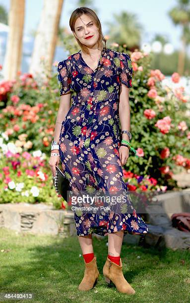 Music fan Tallulah Willis of San Francisco wearing Reformation attends day 2 of the 2014 Coachella Valley Music Arts Festival at the Empire Polo Club...
