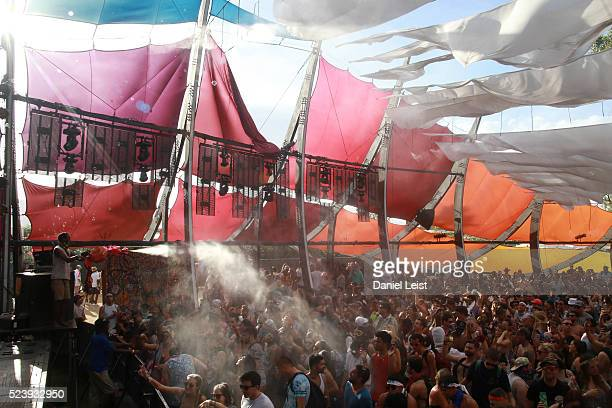 Music fans are sprayed with water at Do Lab during day 3 of the 2016 Coachella Valley Music Arts Festival Weekend 2 at the Empire Polo Club on April...