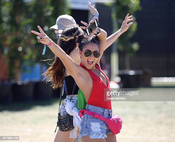 Music fans arrive at day 3 of the 2016 Coachella Valley Music And Arts Festival Weekend 1 at the Empire Polo Club on April 17 2016 in Indio California