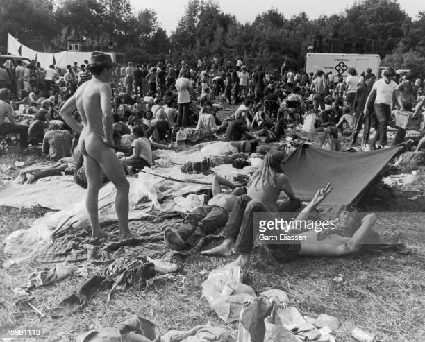 Music fans attend a 'People's Party' during the 'Bach to Rock' Music Festival in Mountaindale New York State 11th July 1970 The musical performances...