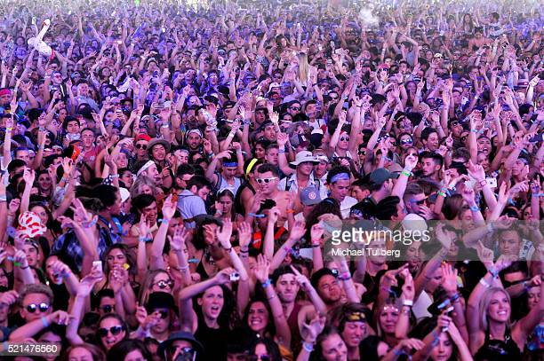Music fans attend day 1 of the 2016 Coachella Valley Music Arts Festival Weekend 1 at the Empire Polo Club on April 15 2016 in Indio California