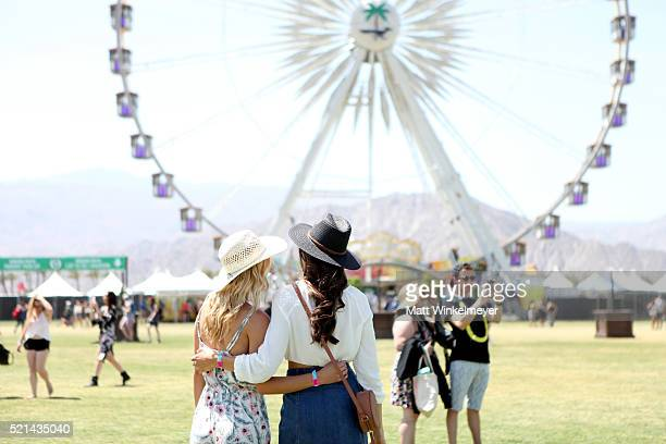 Music fans attend day 1 of the 2016 Coachella Valley Music Arts Festival at the Empire Polo Club on April 15 2016 in Indio California