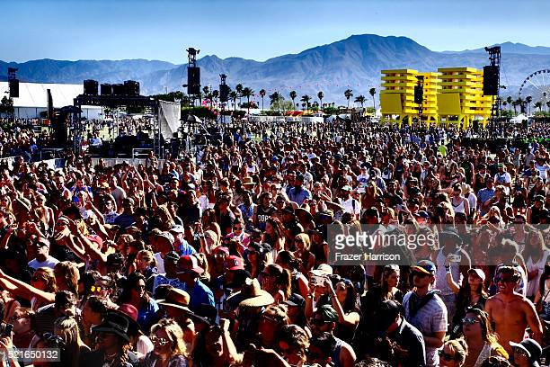 Music Fans attend day 2 of the 2016 Coachella Valley Music Arts Festival Weekend 1 at the Empire Polo Club on April 16 2016 in Indio California