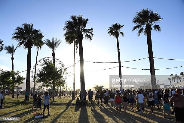 Music fans attend Desert Trip at the Empire Polo Field on October 16 2016 in Indio California