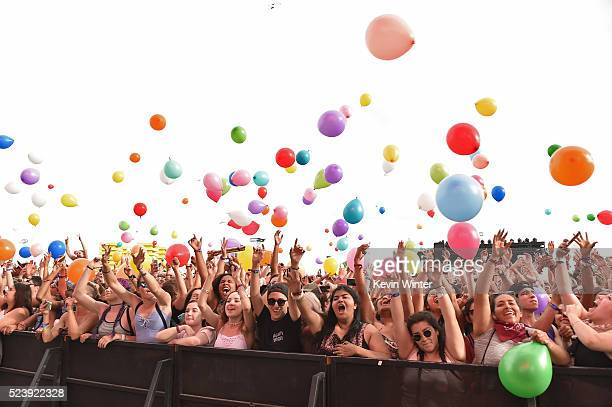 Music fans attend the performance of Matt and Kim during day 3 of the 2016 Coachella Valley Music Arts Festival Weekend 2 at the Empire Polo Club on...