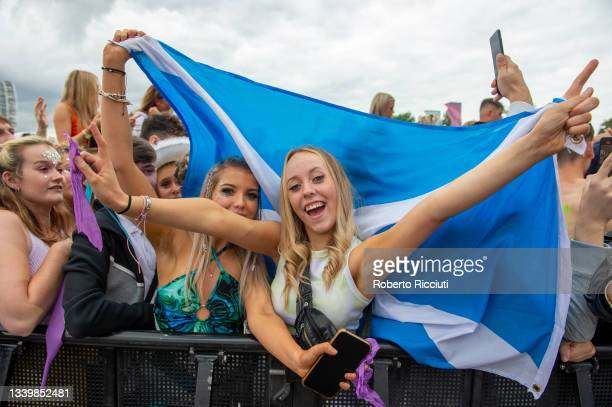Music fans during Amy Macdonald's performance on the Main Stage on the third day of TRNSMT Festival 2021 on September 12, 2021 in Glasgow, Scotland.