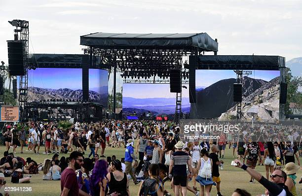 Music fans during day 3 of the 2016 Coachella Valley Music Arts Festival Weekend 2 at the Empire Polo Club on April 24 2016 in Indio California