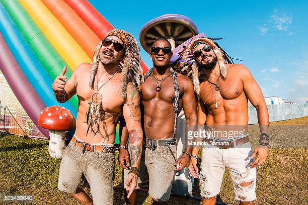 Music fans during the second day of the Tomorrowland music festival at Parque Maeda Itu on April 22 2016 in Sao Paulo Brazil