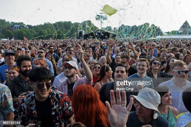 Music fans enjoy themselves on day 3 of All Points East Festival at Victoria Park on May 27 2018 in London England