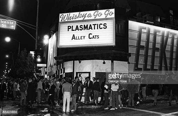 Music fans gather outside the famed Whiskey a Go Go Club on the Sunset Boulevard in this 1980 Hollywood California photo