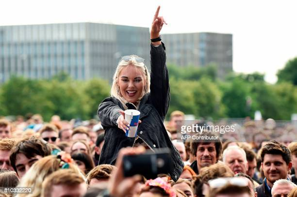 Music fans gather to listen as London Grammar performs on the main Stage at the TRNSMT music Festival on Glasgow Green in Glasgow on July 7 2017...
