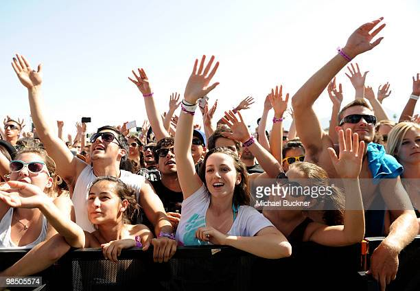 Music fans in the audience of rapper Wale performance during Day 1 of the Coachella Valley Music Art Festival 2010 held at the Empire Polo Club on...