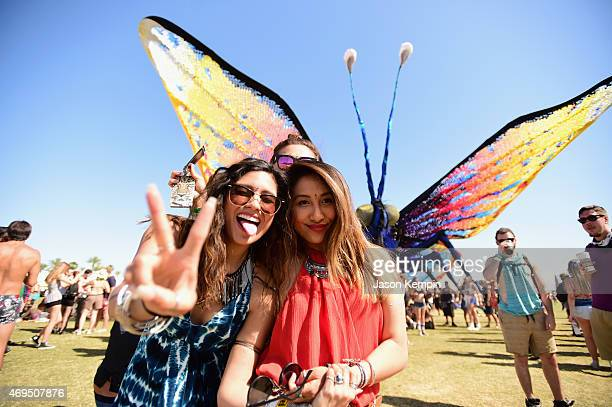 Music fans stand in front of the art installation Papilio Merraculous by Poetic Kinetics during day 3 of the 2015 Coachella Valley Music Arts...