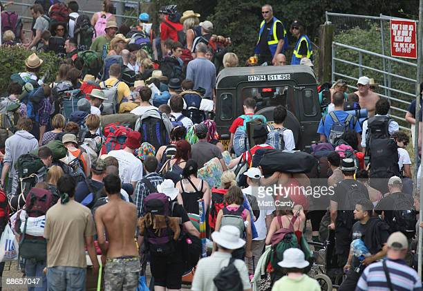Music fans start to arrive at the Glastonbury Festival site at Worthy Farm, Pilton on June 24, 2009 near Glastonbury, England. Gates opened today for...