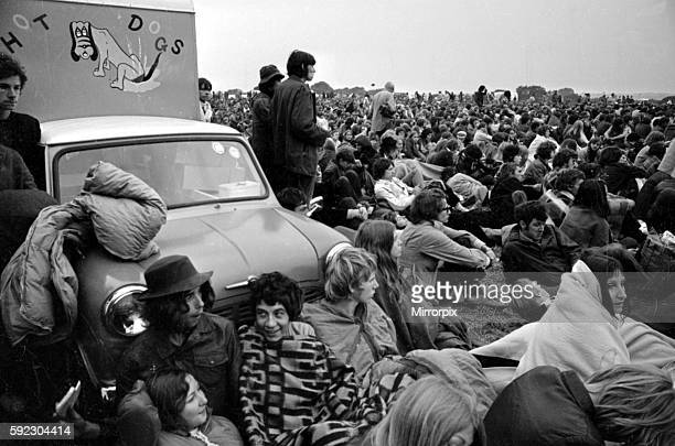 Music fans surround a Mini 'Hot Dog' van at The Isle of Wight Festival 30th August 1969
