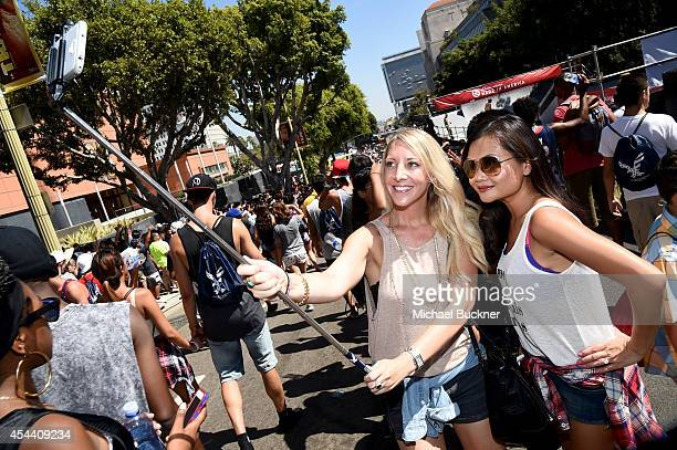Music fans take a selfie at American Eagle Outfitters Celebrates the Budweiser Made in America Music Festival during day 1 at Los Angeles Grand Park...