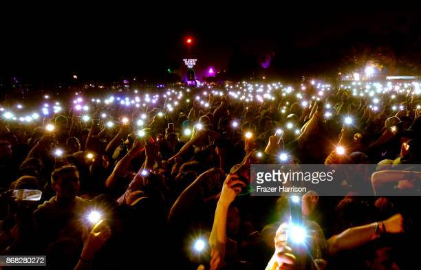 Music fans use their cell phones during Lil Yachty set at Camp Flog Gnaw Carnival 2017 Day 2 Exposition Park on October 29 2017 in Los Angeles...