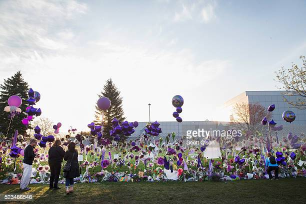 Music fans visit a memorial created outside Paisley Park the home and studio of Prince on April 23 2016 in Chanhassen Minnesota Prince was pronounced...