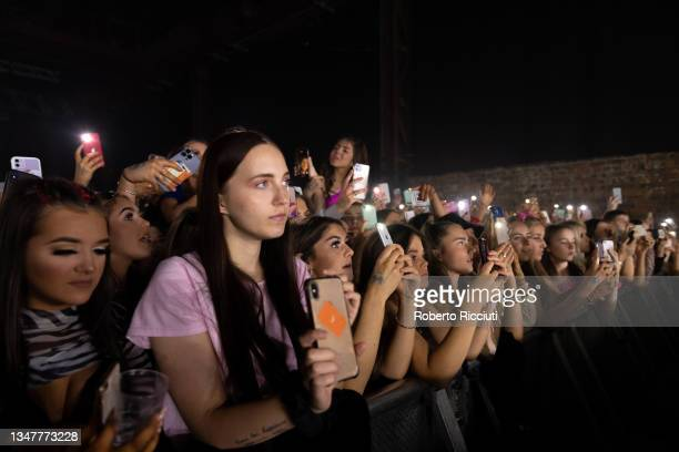 Music fans watch Ella Eyre's performance at SWG3 on October 20, 2021 in Glasgow, Scotland.