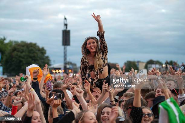 Music fans watch Snow Patrol on the Main Stage on the third day of TRNSMT Festival 2021 on September 12, 2021 in Glasgow, Scotland.