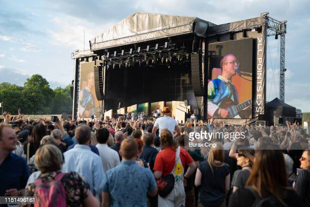Music fans watching the East Stage during the All Points East Festival at Victoria Park on May 24 2019 in London England