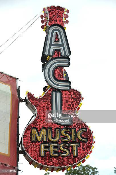 Music Fest Guitar sign at the main entrance to the festival on Day 3 of Austin City Limits Festival 2009 at Zilker Park on October 4, 2009 in Austin,...