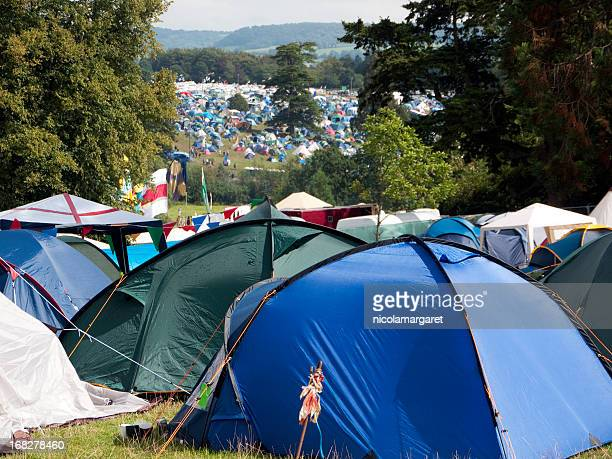 music festival camping - glastonbury stock pictures, royalty-free photos & images