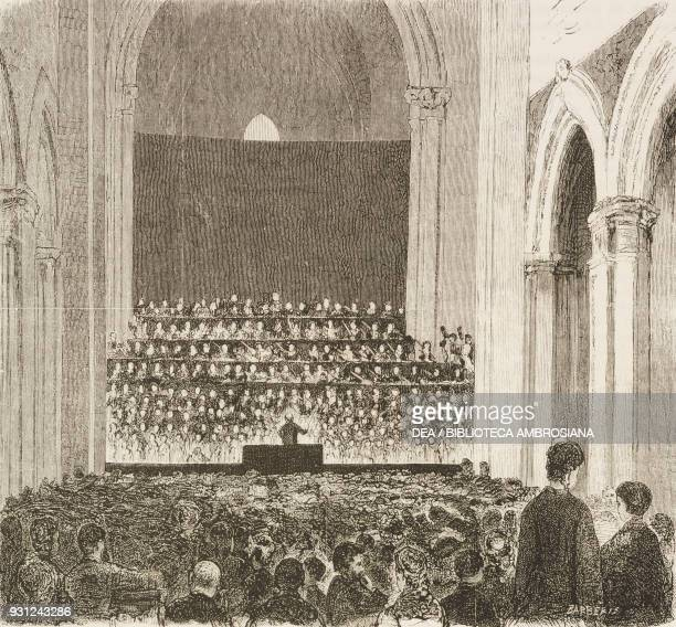 Music festival in honour of Vincenzo Bellini in the church of the Conservatory of Music in Naples Italy drawing by Francesco Paolo Michetti engraving...