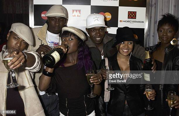 Music group Big Brovaz celebrate at the MOBO Nominations at the Tantra Nightclub on February 8 2003 in Soho London