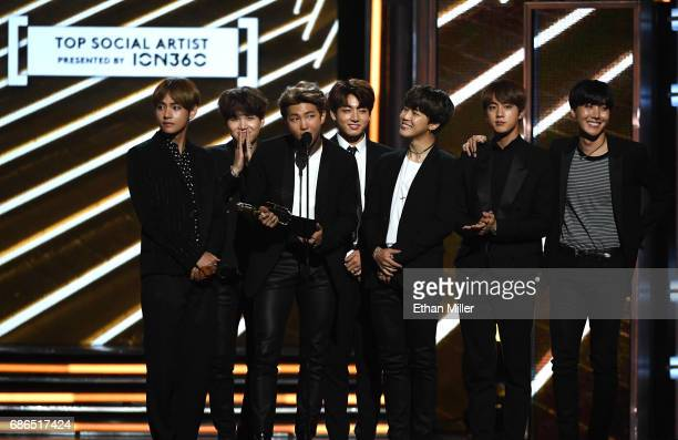 Music group BTS accepts the Top Social Artist award onstage during the 2017 Billboard Music Awards at TMobile Arena on May 21 2017 in Las Vegas Nevada